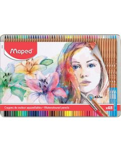 Creioane colorate solubile in apa, in cutie metal, 48culori/set, Color Peps Aqua Artist Maped