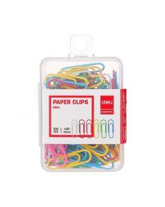 Agrafe color 29 mm, 100buc/cutie plastic, Deli
