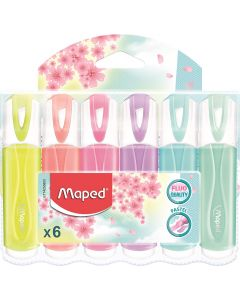 Textmarker 6 culori/set (galben, somon, roz, mov, bleu, verde pal), Classic Pastel Fluo Peps Maped