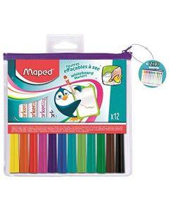 Whiteboard marker 12 buc/set (albastru, mov, negru, rosu, roz, verde, verde inchis, verde deschis, t