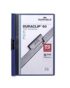 Dosar din plastic cu clema culisanta, albastru inchis, 60 coli, Duraclip Durable
