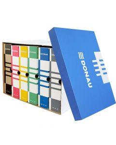 Container arhivare cutii de arhivare, cu capac, 545x317x363mm, albastru/alb, Donau