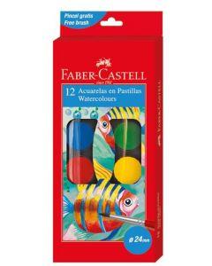 Acuarele pe baza de apa, 12 culori, pastila 30mm, pensula, 125012 Faber Castel