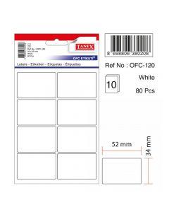 Etichete autoadezive dreptunghiulare, 34x52mm, 80buc/set, 10coli/set, alb, Tanex