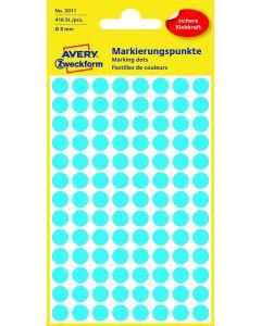 Etichete autoadezive rotunde, diam.8mm, 416buc/set, albastru, Avery Zweckform