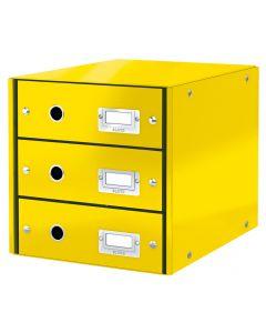 Suport carton laminat cu 3 sertare pentru documente, galben, Click&Store Leitz