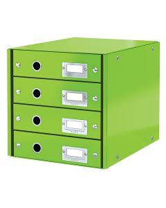 Suport carton laminat cu 4 sertare pentru documente, verde, Click&Store Leitz