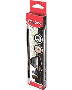 Creion cu guma, HB, 12buc/cutie, Deco Maped