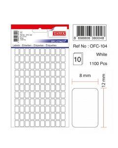 Etichete autoadezive dreptunghiulare, 8x12mm, 1100buc/set, 10coli/set, alb, Tanex