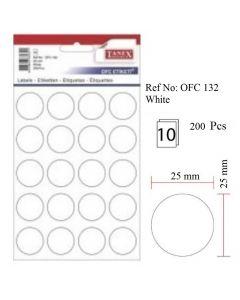 Etichete autoadezive rotunde, diam.25mm, 200buc/set, 10coli/set, albe, Tanex
