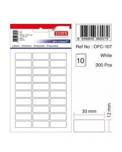 Etichete autoadezive dreptunghiulare, 12x30mm, 300buc/set, 10coli/set, albe, Tanex