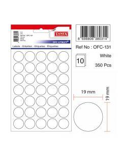 Etichete autoadezive rotunde, diam.19mm, 350buc/set, 10coli/set, albe, Tanex