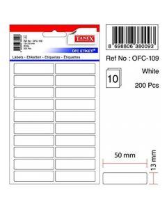 Etichete autoadezive dreptunghiulare, 13x50mm, 200buc/set, 10coli/set, albe, Tanex