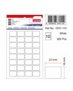 Etichete autoadezive dreptunghiulare, 16x22mm, 320buc/set, 10coli/set, albe, Tanex