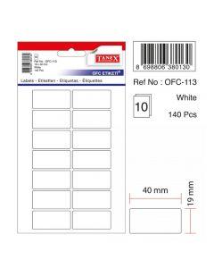 Etichete autoadezive dreptunghiulare, 19x40mm, 140buc/set, 10coli/set, albe, Tanex