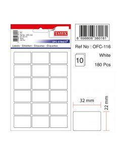 Etichete autoadezive dreptunghiulare, 22x32mm, 180buc/set, 10coli/set, albe, Tanex