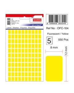 Etichete autoadezive dreptunghiulare, 8x12mm, 550buc/set, 5coli/set, galben fluorescent, Tanex