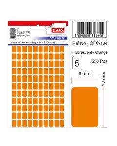 Etichete autoadezive dreptunghiulare, 8x12mm, 550buc/set, 5coli/set, portocaliu fluorescent, Tanex