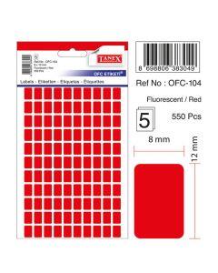 Etichete autoadezive dreptunghiulare, 8x12mm, 550buc/set, 5coli/set, rosu fluorescent, Tanex