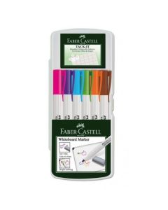 Whiteboard marker 6buc/set pastel (roz, mov, bleu, verde, portocaliu, maro), Slim 1560 Faber Castell