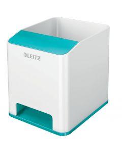 Suport instrumente de scris, cu sistem de amplificare a sunetului, alb/turcoaz, Wow Leitz