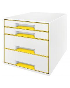 Suport plastic cu 4 sertare pentru documente, alb/galben, Wow Cube Leitz