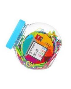 Agrafe color 29 mm, 200buc/borcan plastic, Deli