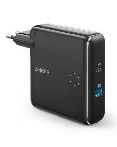 Incarcator de retea si baterie externa, 5000mAh, USB si USB-C, negru, Anker PowerCore Fusion
