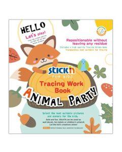 Carte de colorat si decupat Tracing Work Book - Animal Party Stick'n