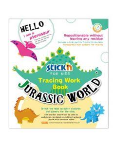 Carte de colorat si decupat Tracing Work Book - Jurassic World Stick'n