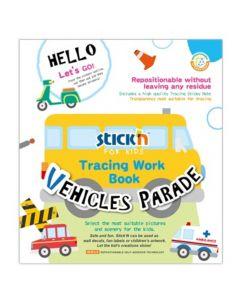 Carte de colorat si decupat Tracing Work Book - Vehicles Parade Stick'n