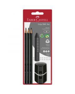 Set 3 creioane Grip + guma + ascutitoare, negru, Faber Castell
