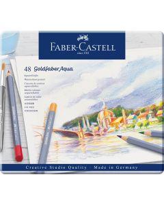 Creioane colorate 48culori/set, cutie metal, Aquarelle Goldfaber, Faber Castell