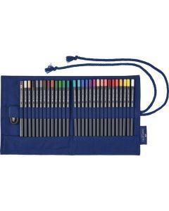 Creioane colorate permanente 27culori/set, rollup, Goldfaber, Faber Castell