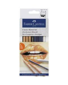 Creioane si radiera pentru desen si schite, 6piese/set, Faber Castell