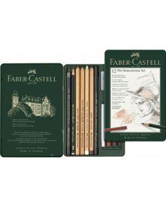 Creioane si radiera pentru desen si schite, 12piese/set, Pitt Monochrome, Faber Castell