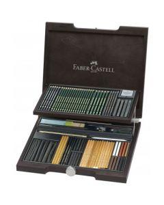 Creioane, carbune si accesorii pentru desen, 95piese/cutie lemn, Pitt Monochrome 2, Faber Castell