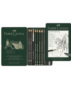 Creioane si accesorii pentru desen si schite, 11piese/set, Pitt Monochrome Grafit, Faber Castell