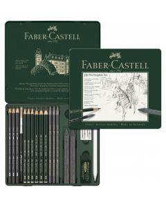 Creioane si accesorii pentru desen si schite, 19piese/set, Pitt Monochrome Grafit, Faber Castell