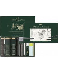 Creioane si accesorii pentru desen si schite, 26piese/set, Pitt Monochrome Grafit, Faber Castell