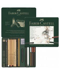 Creioane, carbune si radiere pentru desen si schite, 21piese/set, Pitt Monochrome, Faber Castell