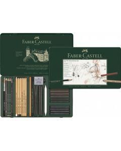 Creioane, carbune si accesorii pentru desen si schite, 33piese/set, Pitt Monochrome, Faber Castell