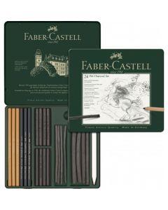 Creioane, carbune si radiera pentru desen si schite, 24piese/set, Pitt Monochrome, Faber Castell