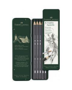 Creioane grafit, in cutie metal, 5 buc/set, Graphite Aquarelle, Faber Castell