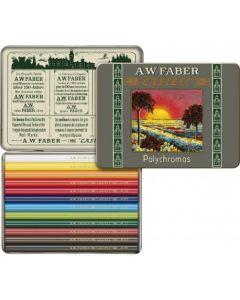 Creioane colorate, scurte, in cutie metal, 12culori/set, Polychromos, Faber Castell