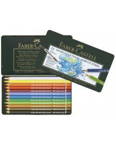 Creioane colorate, in cutie metal, 12culori/set, Acuarela, A.Durer, Faber Castell