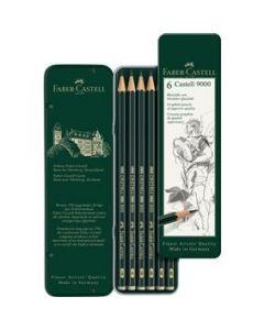 Creioane grafit, in cutie metal, 6 buc/set, Castell 9000, Faber Castell