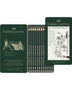 Creioane grafit, in cutie metal, 12 buc/set, Design, Castell 9000, Faber Castell