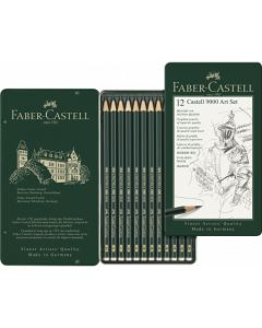 Creioane grafit, in cutie metal, 12 buc/set, Arta, Castell 9000, Faber Castell
