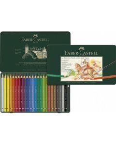 Creioane colorate, in cutie metal, 24culori/set, A.Durer Magnus, Faber Castell